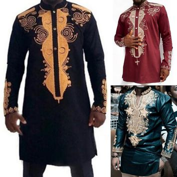 African Clothing Traditional Dashiki Men T Shirts National Style Long Sleeve Printed Button Decor Stand Collar Loose Clothes