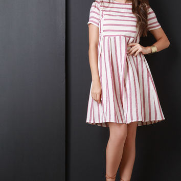 Stripe Short Sleeve Babydoll Dress