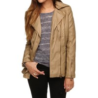 Sale-khaki Faux Leather Quilted Jacket