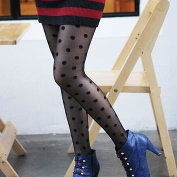 New Women's Tights Classic Polka Dot Silk Stockings Ladies Faux Tattoo Ultra Thin Jacquard Stockings Pantyhose Black Stocking