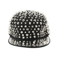 Cool Punk Style Full Rivets Cap Black