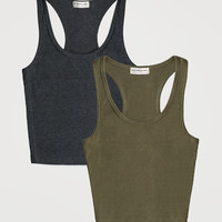 Work It Out Tank Charcoal & Olive Pack