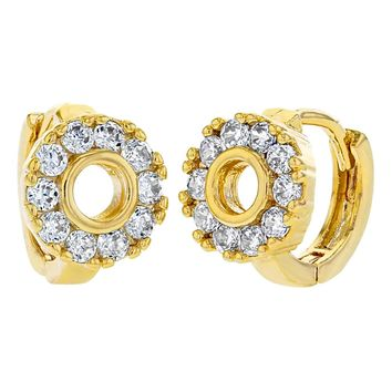 14k Gold Plated Clear Crystal Round Huggie Small Hoop Earrings for Women