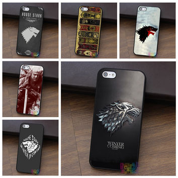 Game Of Thrones House Stark White Wolf fashion cell phone case for iphone 4 4s 5 5s 5c SE 6 6s 6 plus 6s plus 7 7 plus #LI1161