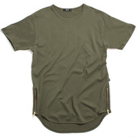 Side Zipper Original Long T-Shirt Olive