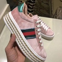 GUCCI Women Trending Fashion Embroidery printing Casual Sneakers Sports Shoes Pink