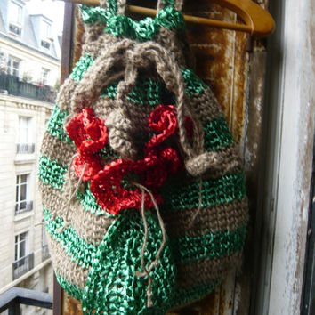 handmade crocheted jute twine and raphia bag,tote, colourful,green,red,with red poppy flowers and a leaf