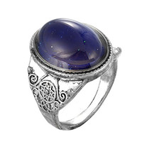 MJartoria Oval Pattern Engraved Antique Silver Color Retro Style Color Changing Mood Emotion Feeling Ring