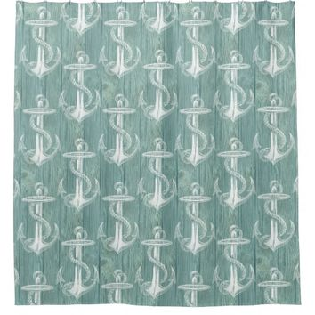 Vintage Anchor Aqua Wood Shower Curtain