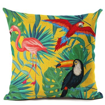 Green  Tropical  Plant  Leave  Birds  Pillow  Cover