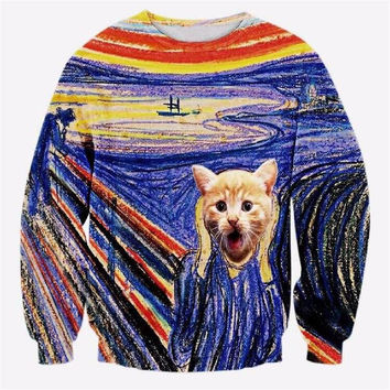 The Scream Crew Neck Sweatshirt Men & Women Edvard Munch Famous Painting Harajuku Style Cats All Over Print Blue Sweater