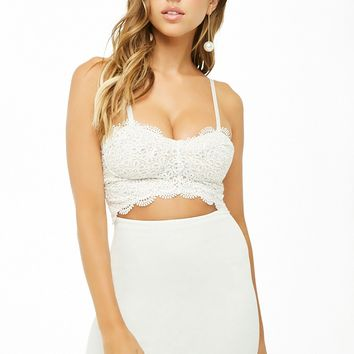 Cutout Lace-Overlay Mini Dress