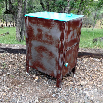 Industrial Metal Cabinet Distressed Rusty & Aqua  Nightstand Storage Holder Bathroom Towel Rack Bin Toy Box Rolling Kitchen Cart Office File