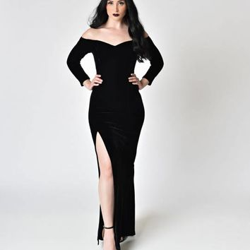 Collectif Black Velvet Off Shoulder Sleeved Anjelica Maxi Dress