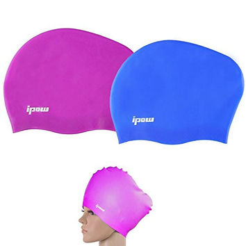 2 Pack, Ipow Premium Waterproof Haircare 100% Silicone Swim Or Shower Cap Great for adults and children to Keep Hair Healthy