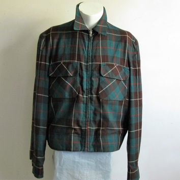 Vintage Deacon Brother 50s Jacket Green Plaid Wool Twill 1950s Crop Mens Zip Viyella Jacket Medium