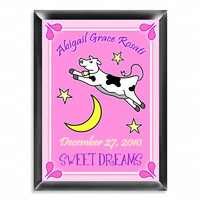 Personalized Room Sign - Cow Jumping Over the Moon Girl