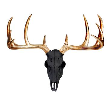 Large Deer Head Skull | Faux Taxidermy | Black + Gold Antlers Resin