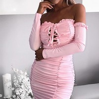 Ready To Romance Pink Long Sleeve Off The Shoulder Ruched Ruffle Lace Up Bodycon Mini Dress