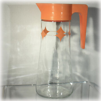 Retro 1969 Anchor Hocking Juice Pitcher Orange Lid and Starburst Design