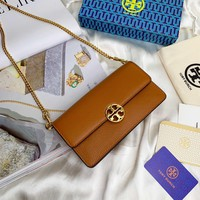Kuyou Gb99822 Tory Burch Chain Flap Wallet In Brown Grained Leather 19x10.5x5cm