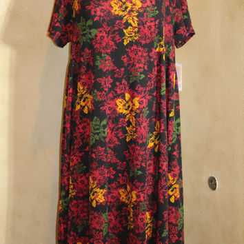 LuLaRoe Carly Dress, Black with Multi-colored Floral print Size XL