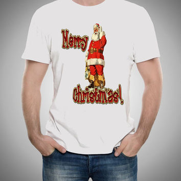 Christmas shirt Santa shirt design holiday t-shirt Men Size S,M,L,XL,XXL