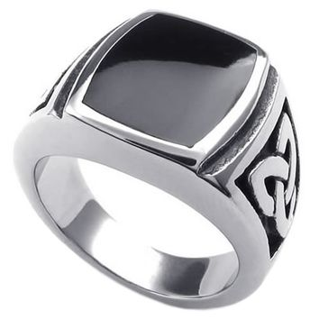 KONOV Mens Stainless Steel Ring, Celtic Knot Signet, Black Silver