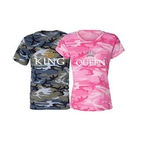 KING QUEEN Printing Camouflage T Shirt Men Women Tops Couple Clothes Summer  Short Sleeve O-neck T Shirts for Lover S-5XL