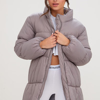 Grey Ring Pull Longline Puffer Jacket