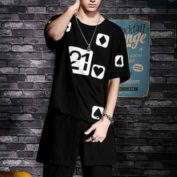 Black Hip-Hop Half Sleeve Men'S Clothing Han Edition Loose Poker Printed T-Shirt Youth