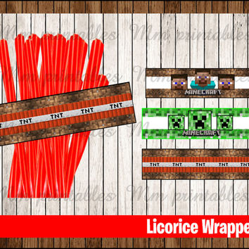 80% OFF SALE Minecraft Candy Label instant download, Printable Minecraft Tnt Licorice Candy Template , Minecraft label Licorice Candy