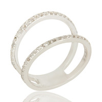 White Topaz Gemstone Sterling Silver Modern Design Cut Out  Double Band Ring