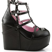 Vegan Leather Cage Bootie Rave Shoes with Pentagram Detail