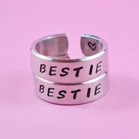 BESTIE - Hand Stamped Rings Set, Handwritten Font, Shiny Aluminum, Friendship, BFF
