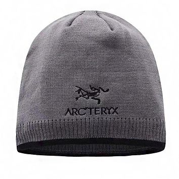 """Arcteryx"" Autumn Winter Popular Women Men Embroidery Knit Hat Cap Grey"
