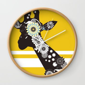 Funky Cool Paisley Giraffe Wall Clock by Wind-Up Sprout Design