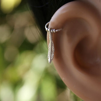 piercing earring in silver ,piercing hoop Earring, Feather cartilage earring,Indian cartilage hoop