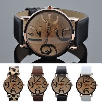 Women Quartz Wrist Watch PU Leather Band 1pcs---salamoer = 1932641604