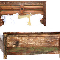 Shabby Chic Louvered California King Bed Frame | Zin Home