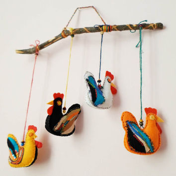 Felt Chicken Hens Wall Hanging Decor, Easter Felt Stuffed Chicks Ornament, Kids Nursery Children Room Decor, Felt Birds Kitchen wall decor