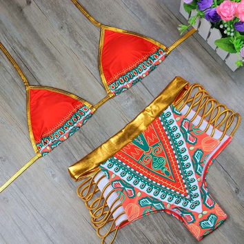 HOT! 2017 African Print Shiny Gold/Red Orange 2Piece Swimsuit