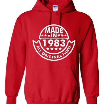 Made In 1983 With All ORIGINAL Parts 31 st BIRTHDAY Printed Graphic Hooded Sweatshirt Great Birthday Graphic Hoodie Awesome Gift For Birthda