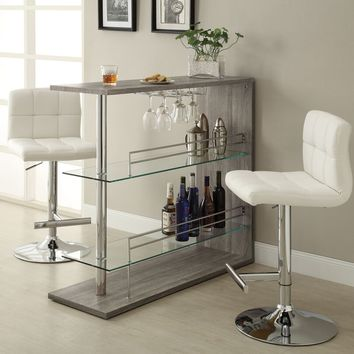 Home bar unit modern style reclaimed wood look finish bar unit with tempered glass shelves and chrome accents