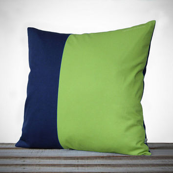 Minimal Linen Pillow Cover in Lime Green and Navy - 18x18 - by JillianReneDecor | Modern Home Decor | Two Tone | Colorblock Pillow