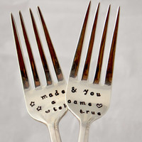 made a wish and you came true, wedding forks -hand stamped-anniversary gift-wedding gift