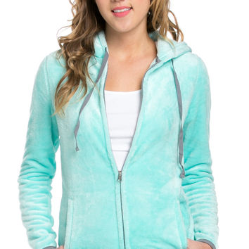 Women's Full Zip Fleece Hoodie Jacket Mint