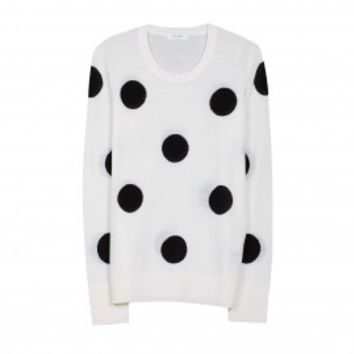 EQUIPMENT Shane Crew Neck Ivory/Black Polka Dot | Cashmere Sweater