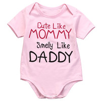 Pink Jumpsuit Outfits Clothes Summer Cotton Newborn Baby Girls Pink Bodysuit Cute Like Mummy 0-24M