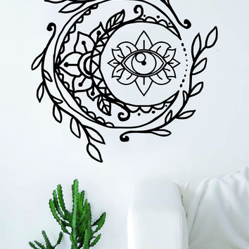 Moon Eye Wall Decal Sticker Room Art Vinyl Yoga Namaste Lotus Flower Mandala Nature Boho Outer Space